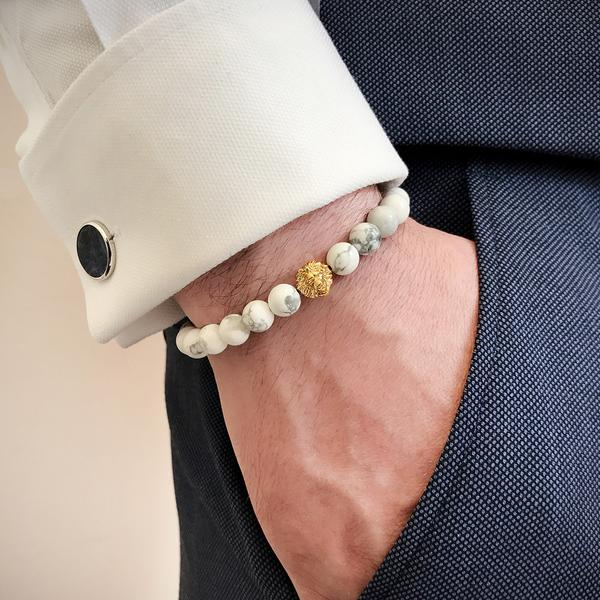 Leo Beaded Bracelets yellow gold howlite