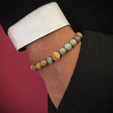 Leo Beaded Bracelets yellow gold aqua terra