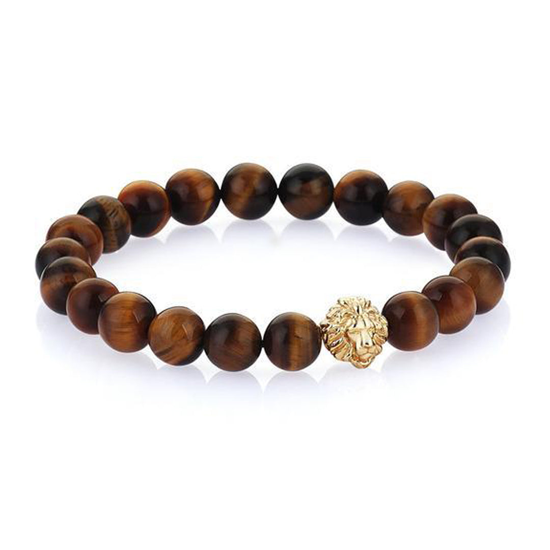 Leo Beaded Bracelets yellow gold tiger eye