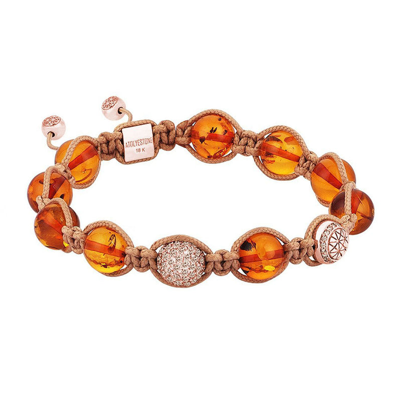 Amber 10MM Shamballa Bracelet - Solid Rose Gold with white diamond ball