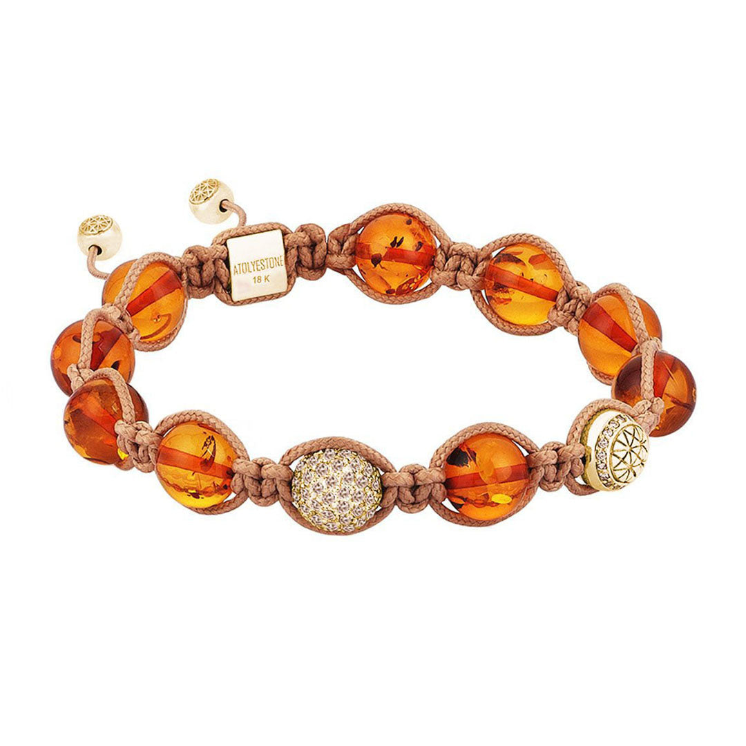 Amber Macrame Bracelet - Solid Yellow Gold