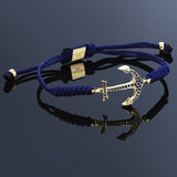 Anchor Macrame Bracelet Navy String