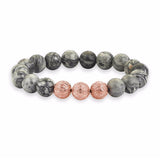 Apex Beaded Bracelet - Rose Gold - Grey Jasper