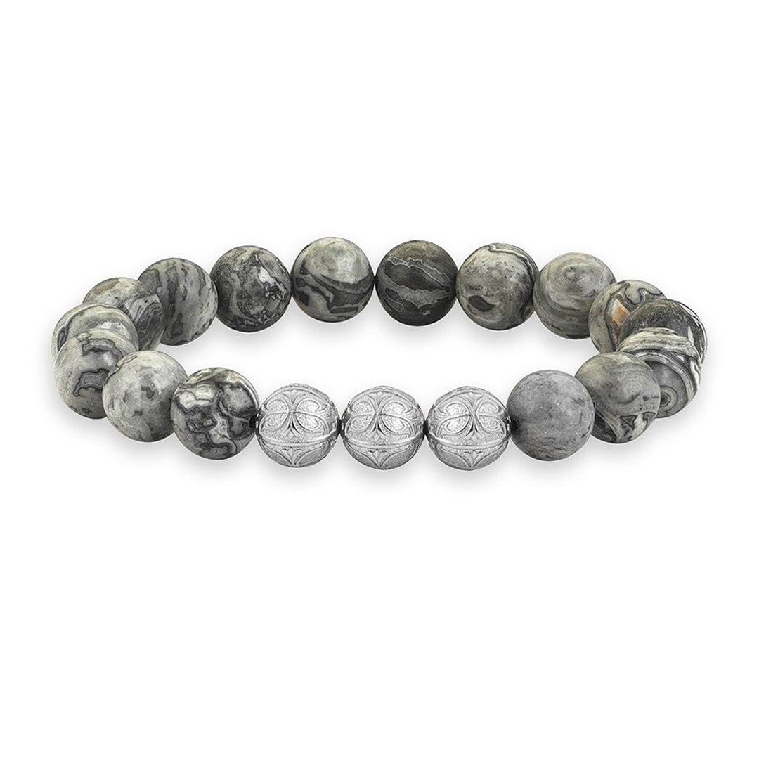 Men Apex Beaded Bracelet - Rose Gold - Grey Jasper