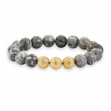 Apex Beaded Bracelet - Yellow Gold - Grey Jasper