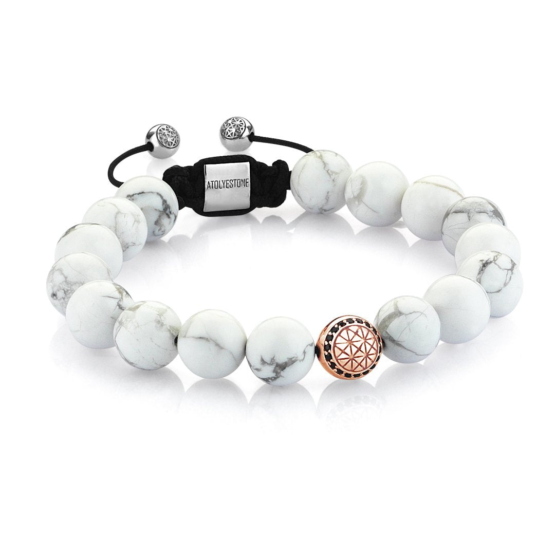 Men Atolyestone Beaded Bracelet With Rose Solid Gold Howlite