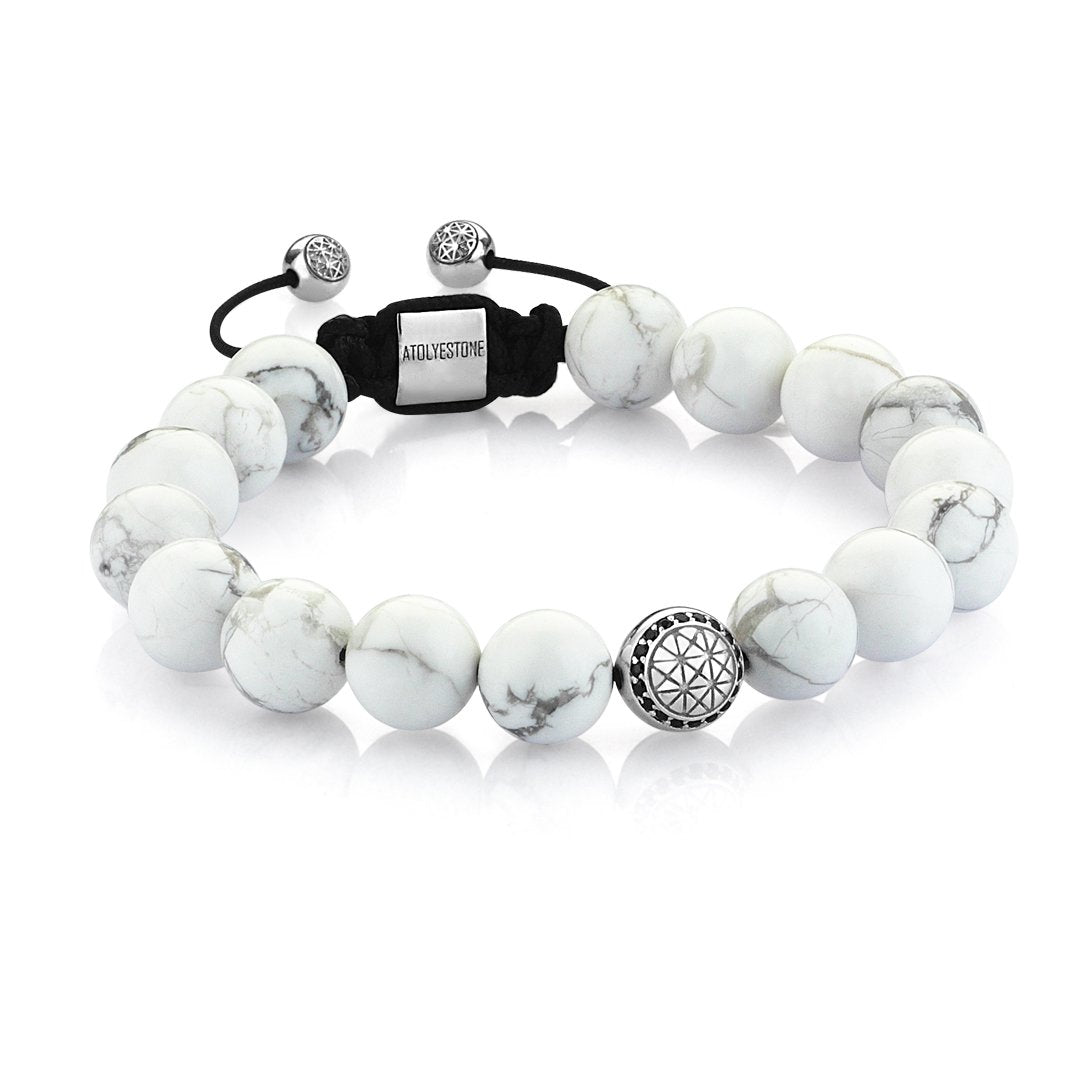 Men Atolyestone Beaded Bracelet With White Solid Gold Howlite