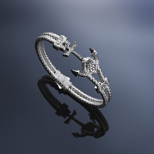 Men Silver Classic Anchor Bangle