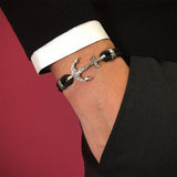 Men Solid Silver Classic Anchor Leather Bracelet Black Nappa