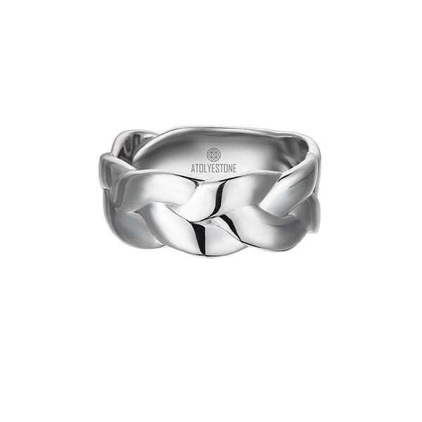 Men's Woven Band Ring in Silver