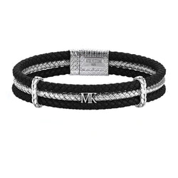 Men's Personalized Triple Row Leather Bracelet with Silver Row - Black Leather