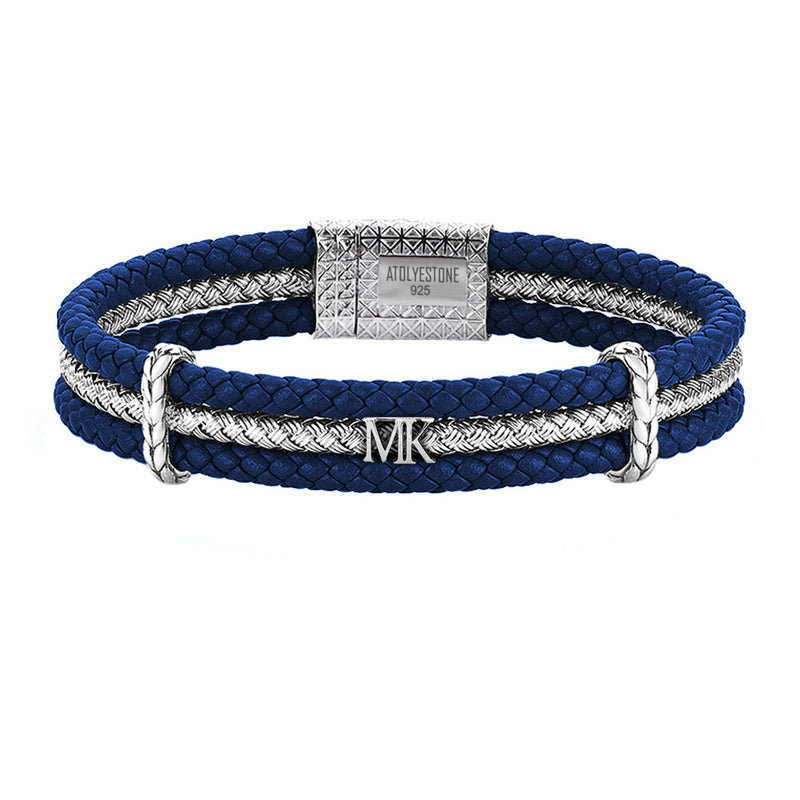 Men's Personalized Triple Row Leather Bracelet with Silver Row- Blue Leather Bracelet