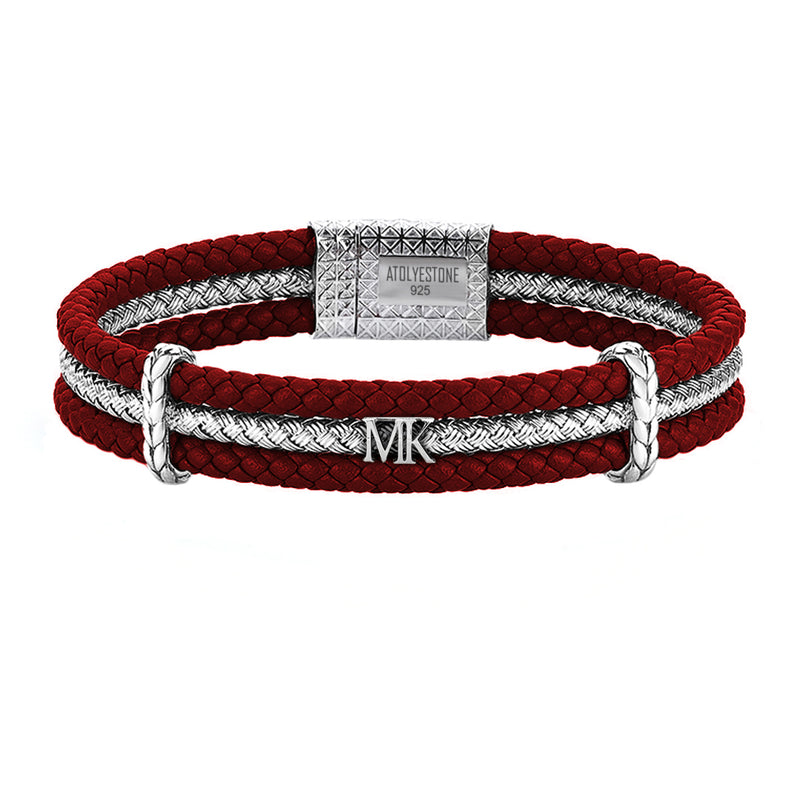 Men's Personalized Triple Row Leather Bracelet with Silver Row-Dark Red Bracelet