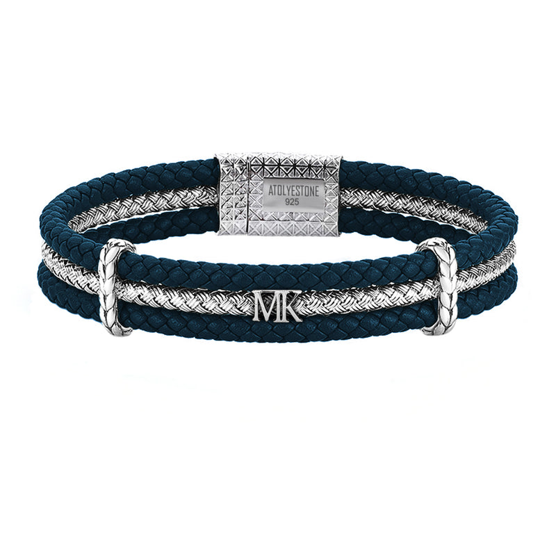 Men's Personalized Triple Row Leather Bracelet with Silver Row-Navy Leather