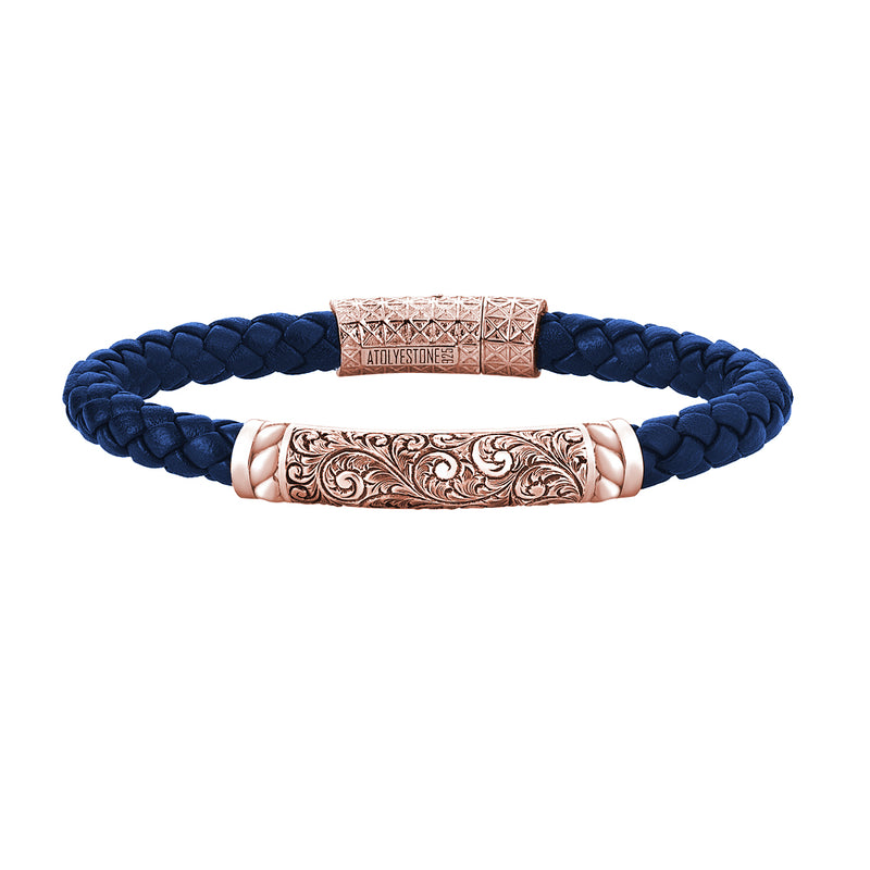 Mens Braided Leather Bracelet - Rose Gold - Blue Leather