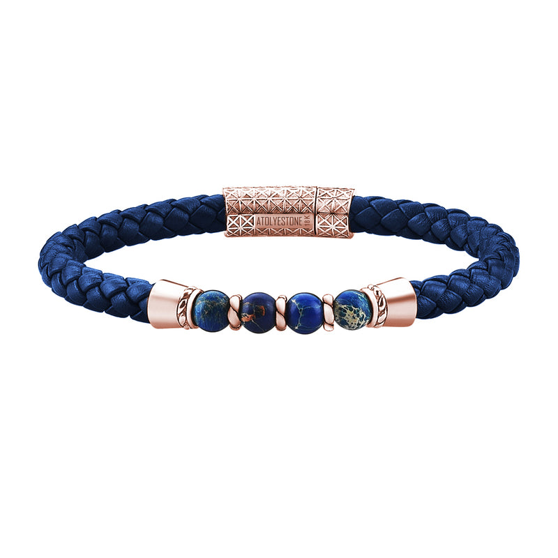 Leather Beaded Bracelet in Rose Gold