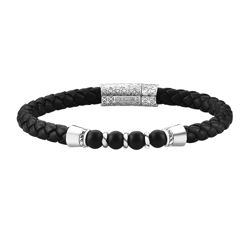 Leather Beaded Bracelet in White Gold