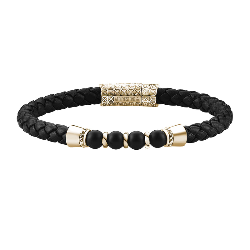 Leather Beaded Bracelet in Yellow Gold