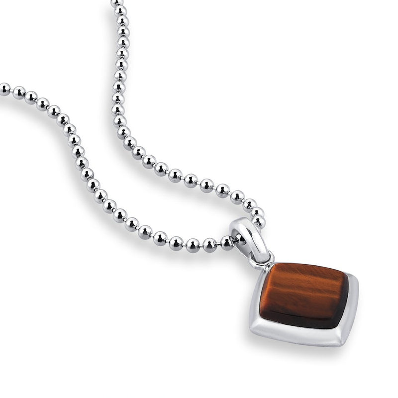Tiger Eye Mens Necklace - Solid Silver