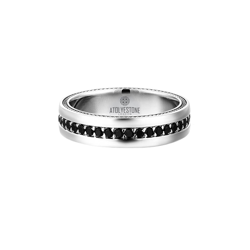 5.5 mm Pave Band Ring - White Gold - Cubic Zirconia