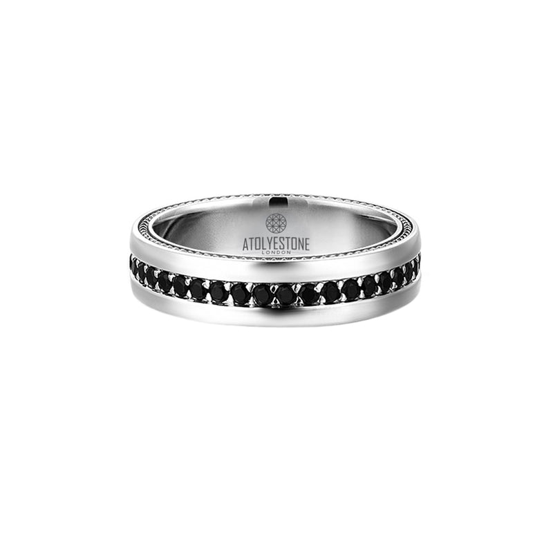 Pave Band Ring - Solid Silver - Cubic Zirconia