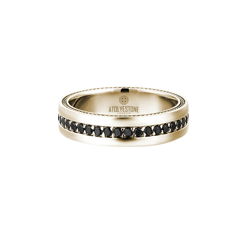 5.5 mm Pave Band Ring - Yellow Gold