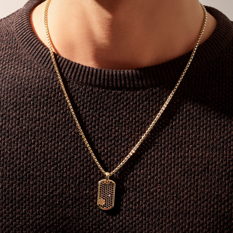 Pave Tag Necklace - Gold (Pendant only)