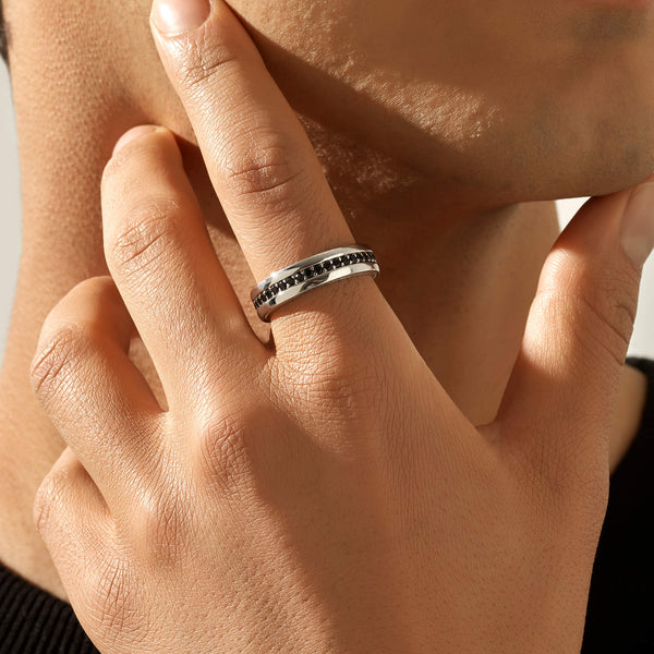 Pave Band Ring - Solid Silver