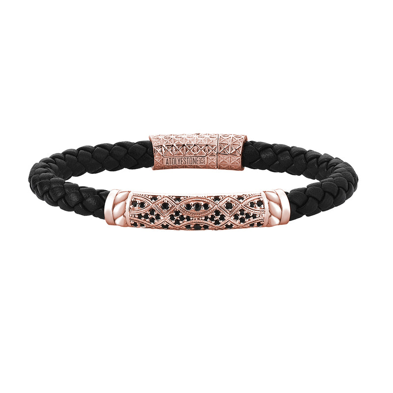 Streamline Braided Leather Bracelet in Rose Gold
