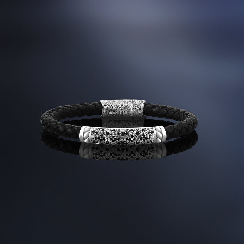 Streamline Braided Leather Bracelet in Silver