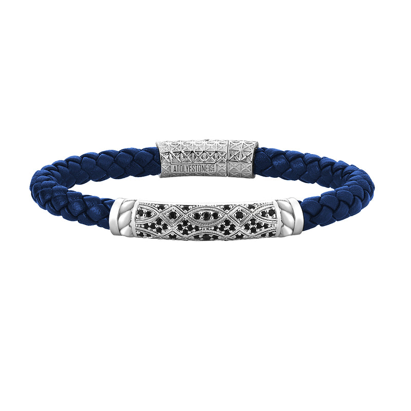 Streamline Braided Blue Leather Bracelet in Silver
