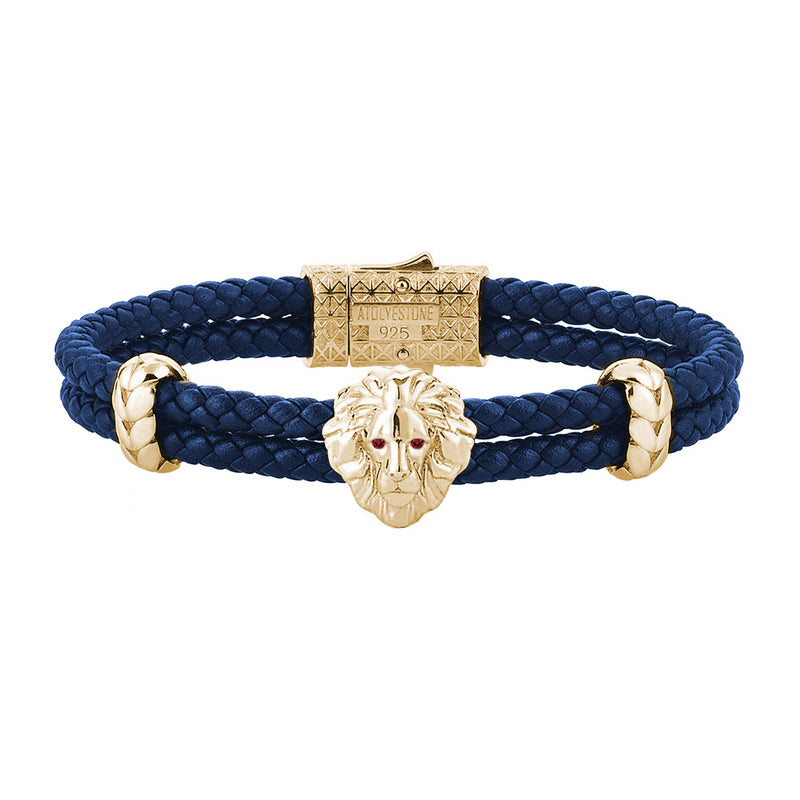 Diamond Leo Leather Bracelet - Yellow Gold - Blue Leather - Ruby