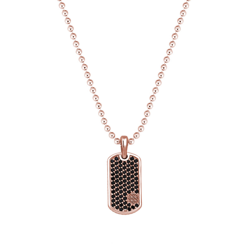 Pave Tag Necklace - Rose Gold