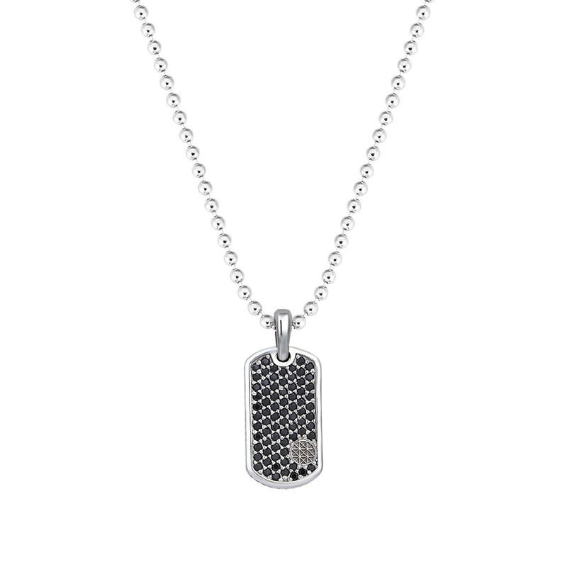 Pave Tag Necklace - White Gold - Black Diamond