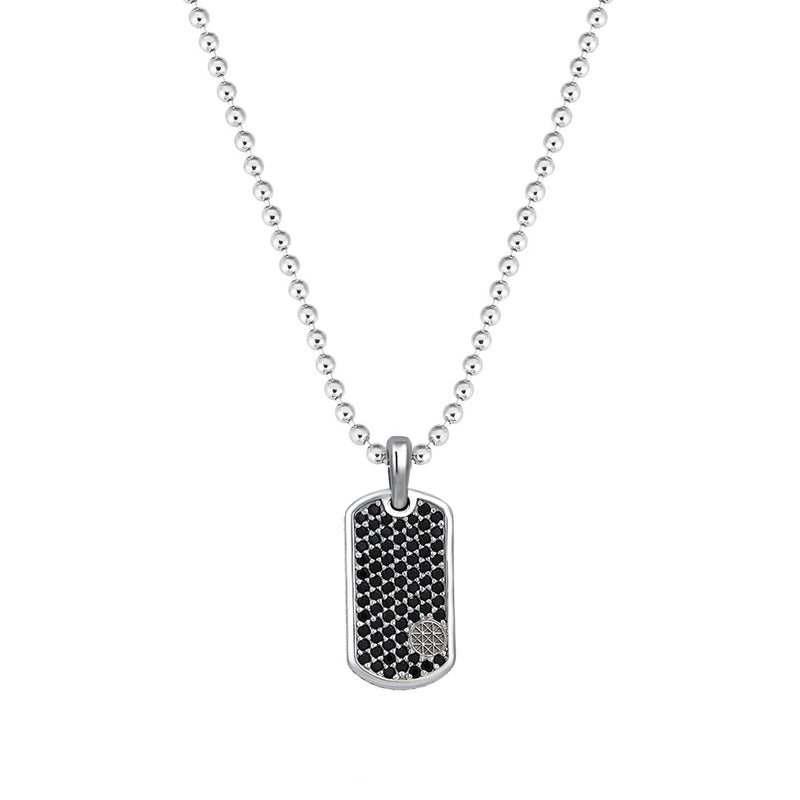 Pave Tag Necklace - White Gold