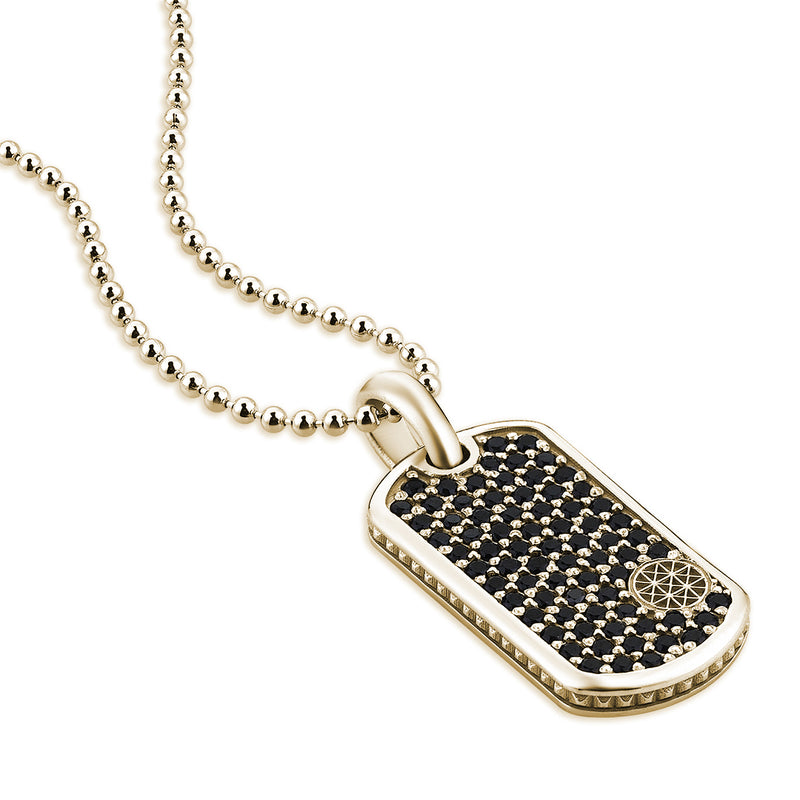 Pave Tag Necklace - Yellow Gold for Men