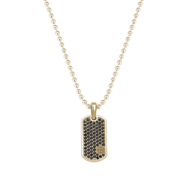Pave Tag Necklace - Yellow Gold - Black Diamond