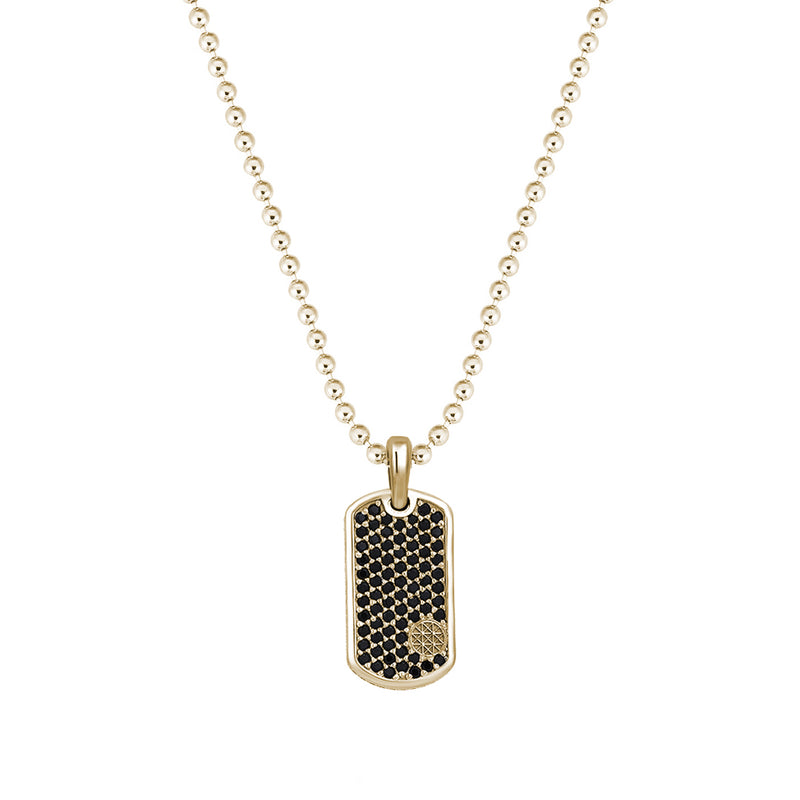 Pave Tag Necklace - Yellow Gold