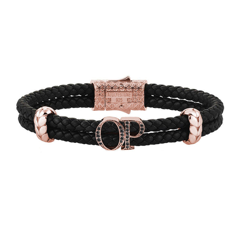 Atolyestone Mens Personalized Leather Bracelet - Rose Gold - Pave Black Diamond - Black
