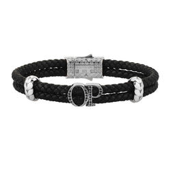 Atolyestone Mens Personalized Leather Bracelet - Silver - Pave Black Diamond - Black