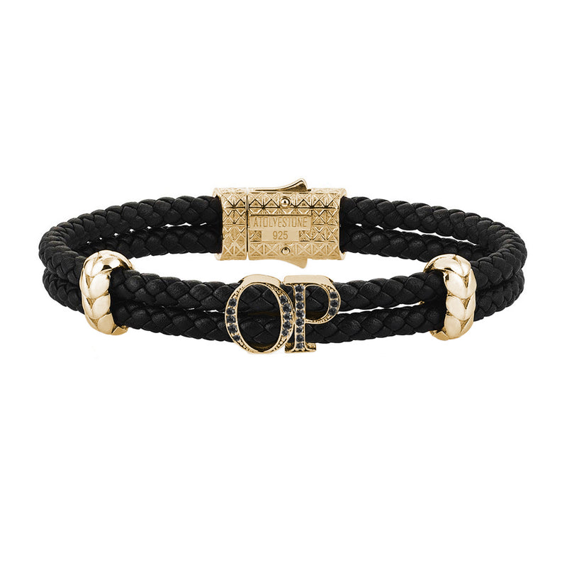 Atolyestone Mens Personalized Leather Bracelet - Yellow Gold - Pave Black Diamond - Black