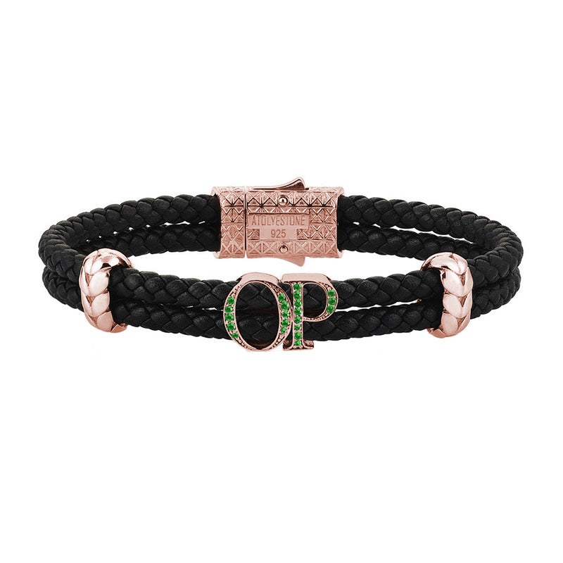 Atolyestone Mens Personalized Leather Bracelet - Rose Gold - Pave Emerald - Black