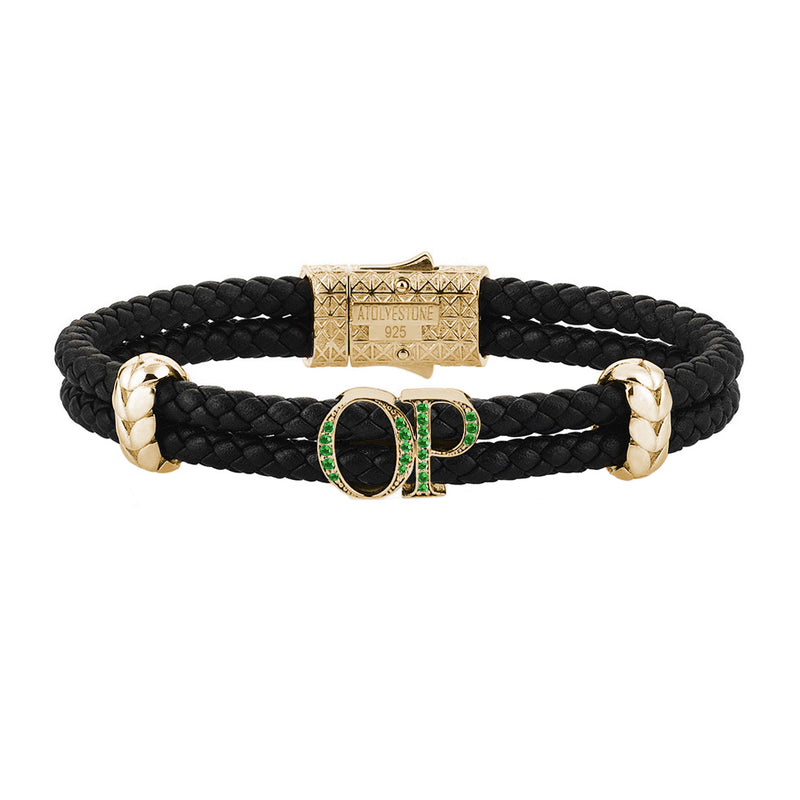 Atolyestone Mens Personalized Leather Bracelet - Yellow Gold - Pave Emerald - Black