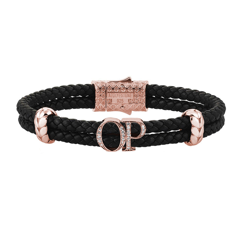 Atolyestone Mens Personalized Leather Bracelet - Rose Gold - Pave White Diamond - Black