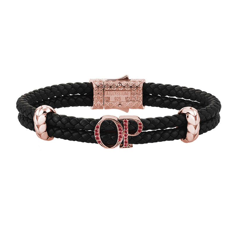 Atolyestone Mens Personalized Leather Bracelet - Rose Gold - Pave Ruby - Black