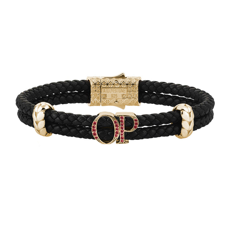 Atolyestone Mens Personalized Leather Bracelet - Yellow Gold - Pave Ruby - Black