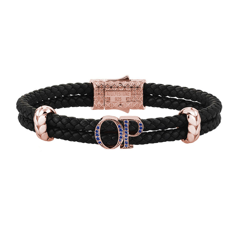 Atolyestone Mens Personalized Leather Bracelet - Rose Gold - Pave Sapphire - Black