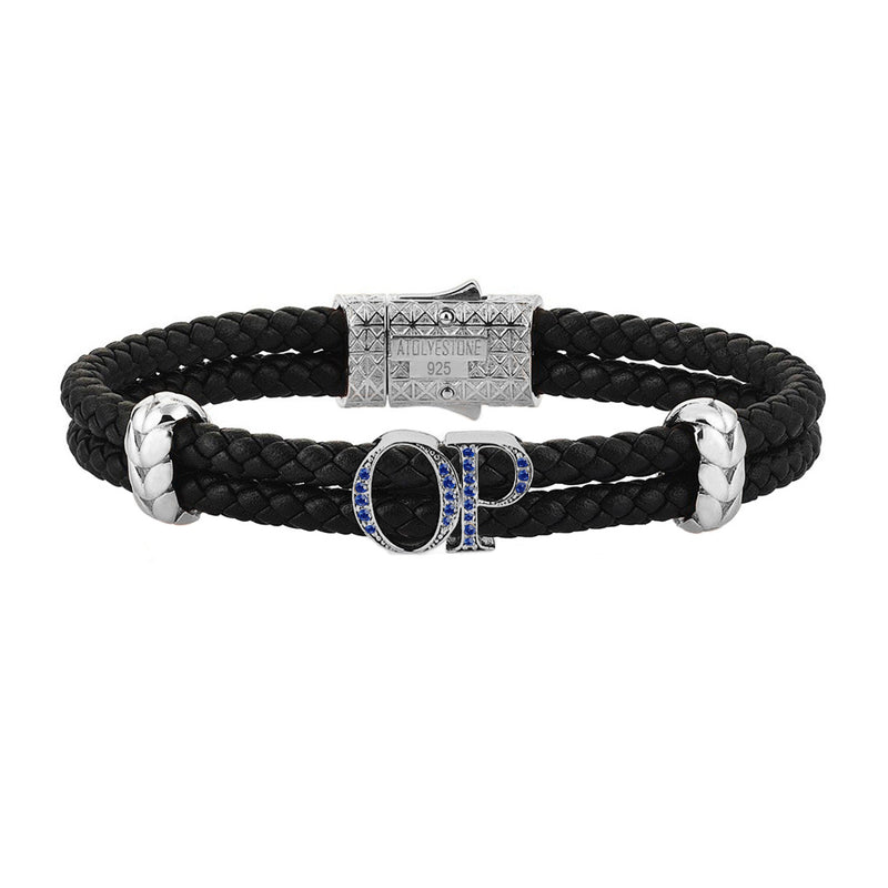 Atolyestone Mens Personalized Leather Bracelet - Silver - Pave Sapphire - Black
