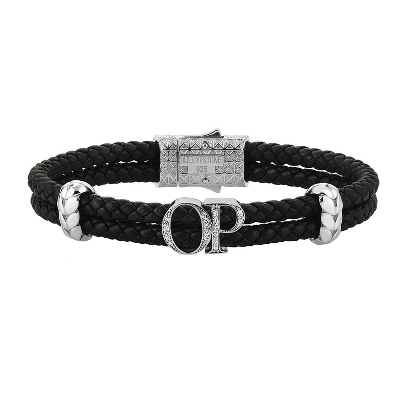 Atolyestone Mens Personalized Leather Bracelet - Silver - Pave White Diamond - Black