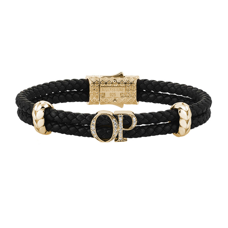 Atolyestone Mens Personalized Leather Bracelet - Yellow Gold - Pave White Diamond - Black